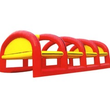 red inflatable tent