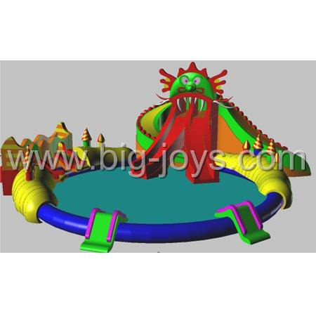 Dragon Slide Water park combo, Inflatable Dragon water Park