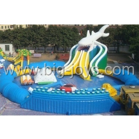 Inflatable Shark water Park. Shark above ground park.