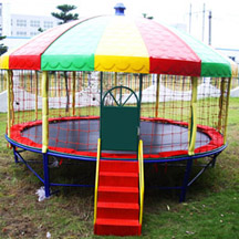kid round trampoline bed with roof