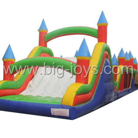 commercial inflatable obstacle,inflatable obstacle with slide,Jumping Castle Obstacle